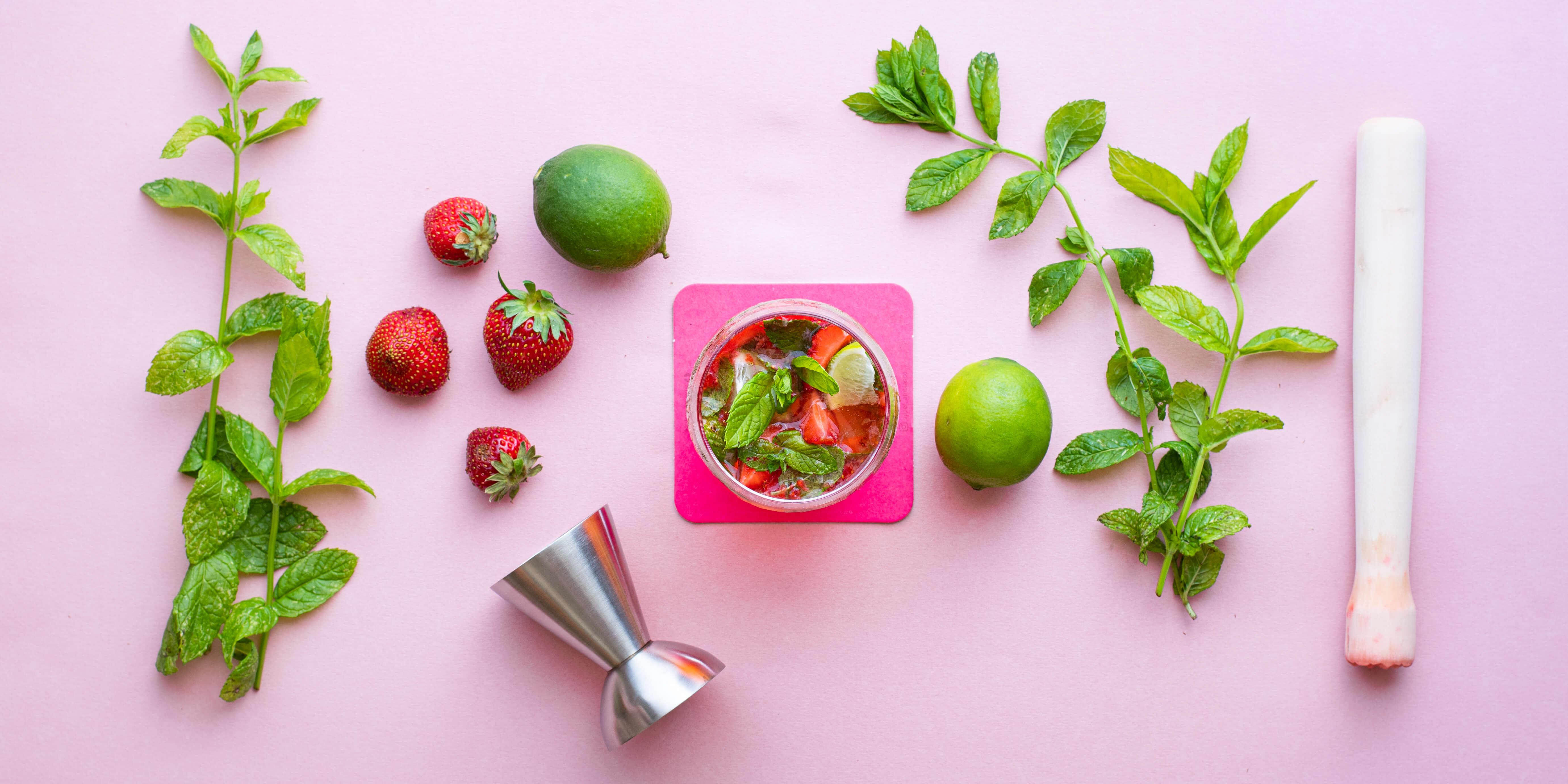 Virgin mojito fraise {vegan, sans gluten, sans alcool}